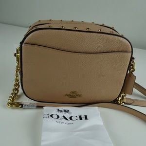 Coach Pebbled Leather Camera Bag w/ Crystal Rivets